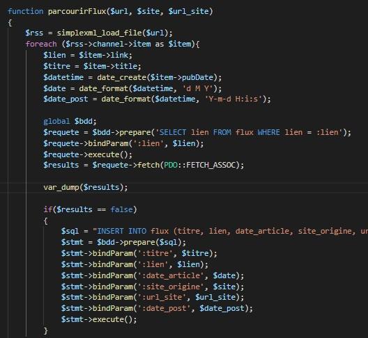 Script Php récupérant les flux rss d'une page
