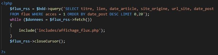 Requête SQL pour afficher les liens des flux rss.