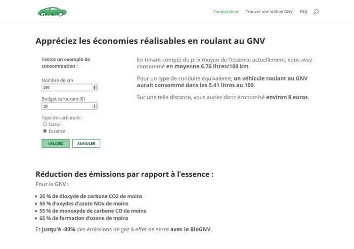 Page d'accueil du site Gazauto.