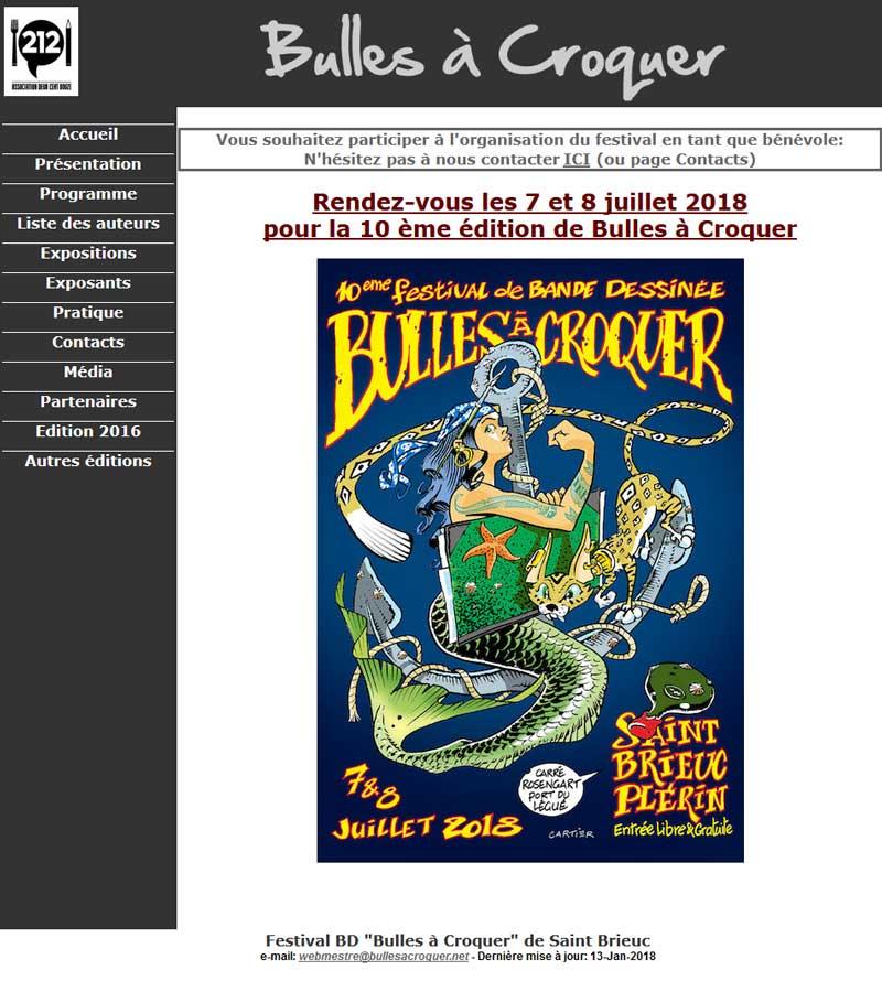 Capture d'écran de l'ancien site Bulles à Croquer