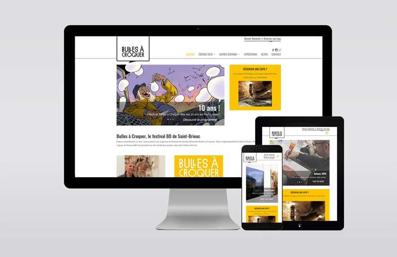 Site Bulles à Croquer dans différentes tailles d'écran.