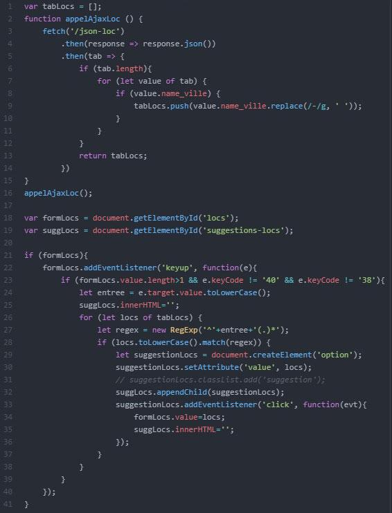 Code Javascript pour l'auto-complétion des localisations