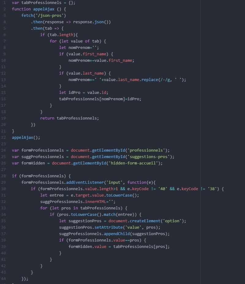 Code Javascript pour l'auto-complétion des professionnels