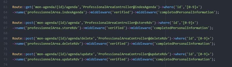 Routes de web.php pour la gestion des rdvs