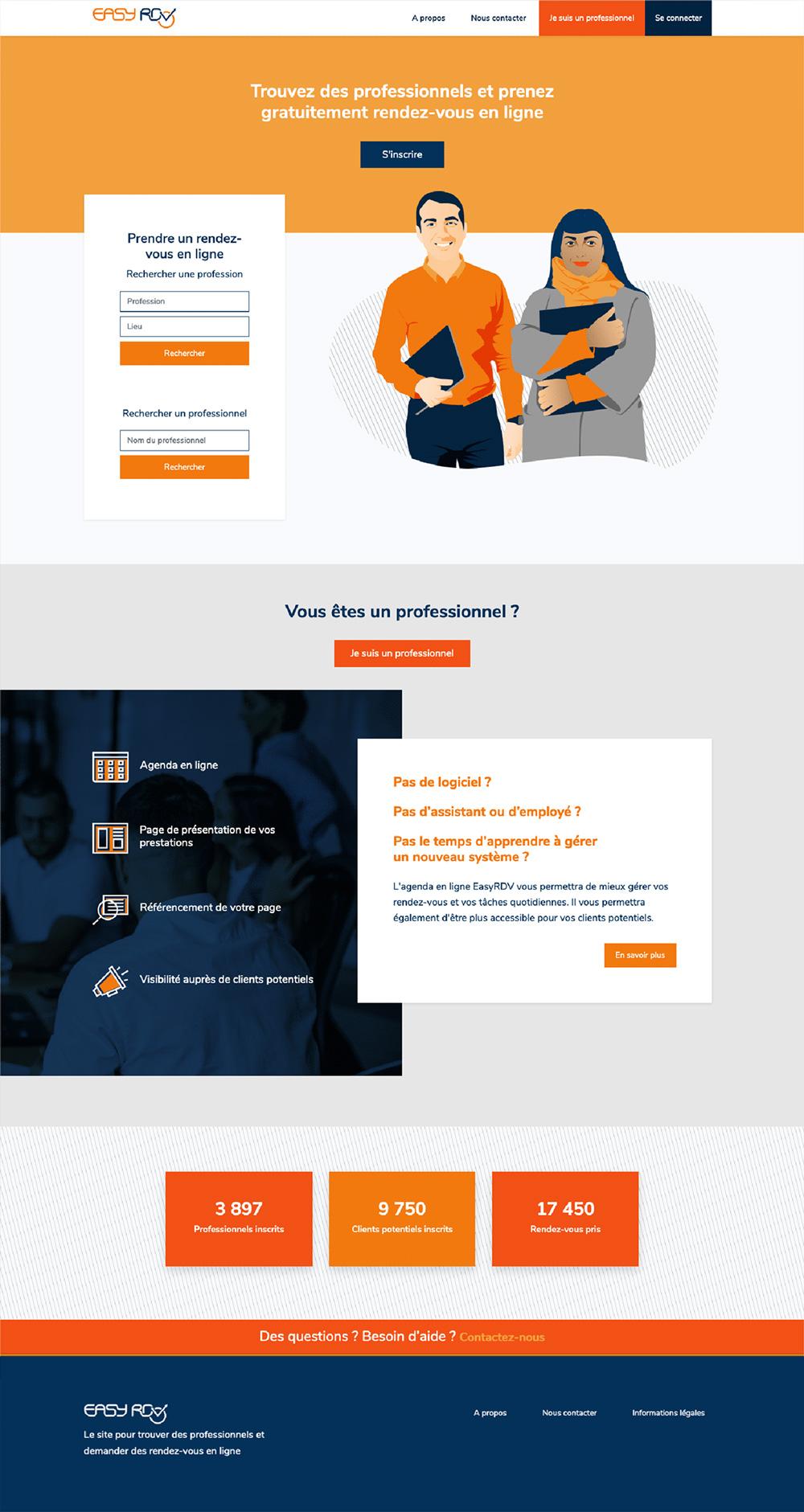 Maquette de la page d'accueil d'Easy-RDV