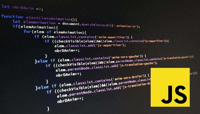 Code Javascript et logo JS