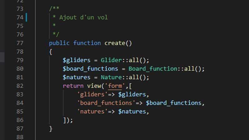 Extrait de code d'un controller dans Laravel